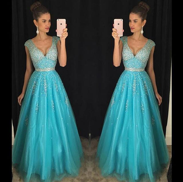 V neck Beading Prom Dresses,Long Formal Dress SP2002