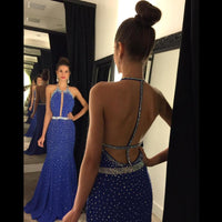 Backless Beading Prom Dresses,Long Formal Dress SP2005