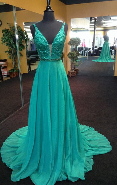 Fashion V-neck Beaded Prom Dress , Long Formal Dress SP2074