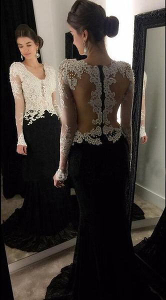 Black Lace White Applique Prom Dress With Pearls, Long Formal Dress SP2075