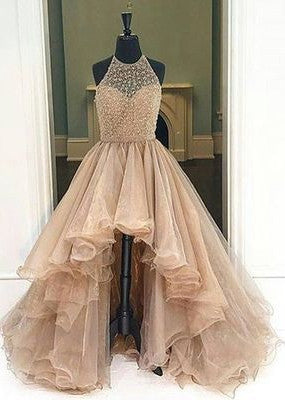 Popular High Low Beaded Prom Dress, Long Formal Dress SP2077