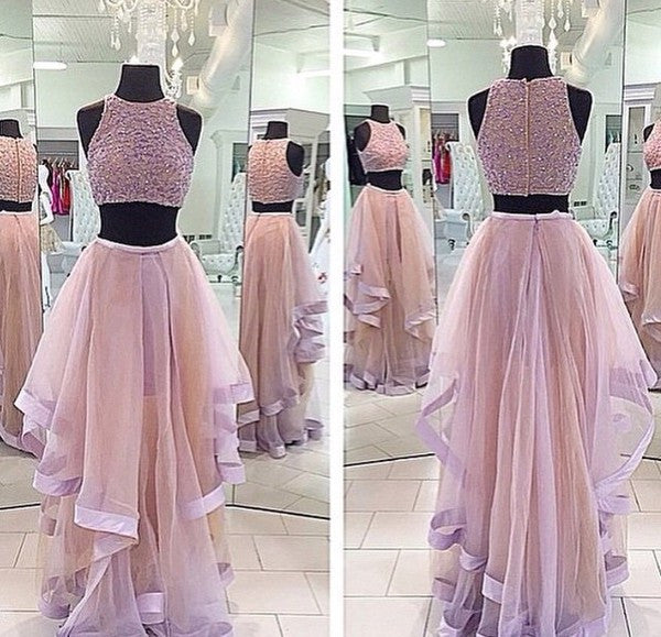 Two Piece Beading Prom Dresses, Long Party Dress SP3008