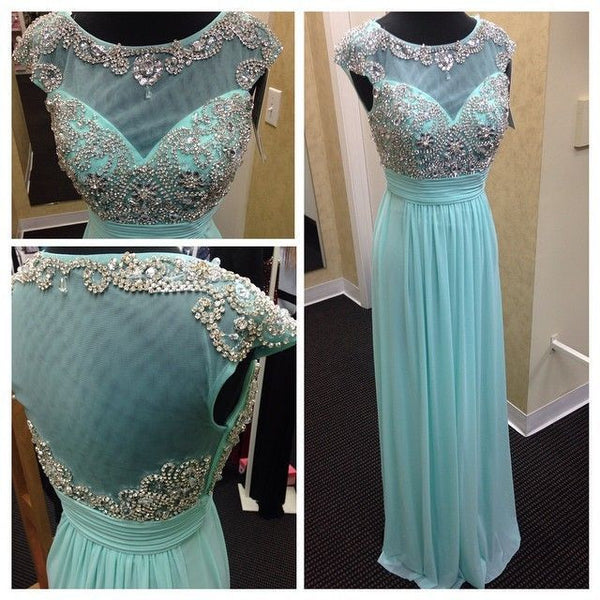 Beading Prom Dresses,Cap Sleeves Long Party Dress SP3010