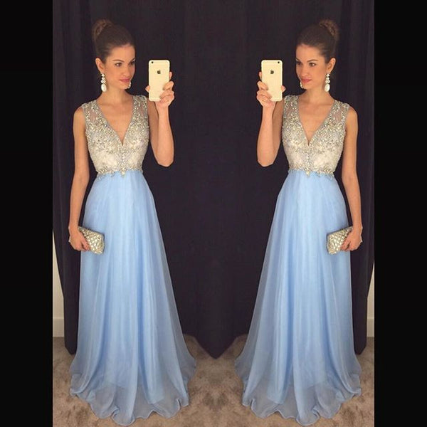 V-neck Beading Prom Dresses, Long Party Dress SP3011