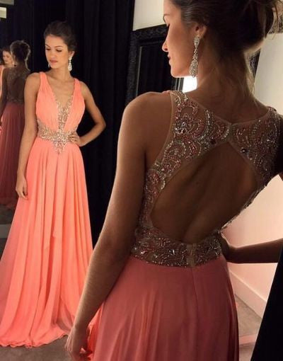 Backless Beading Prom Dresses, Long Party Dress SP3013