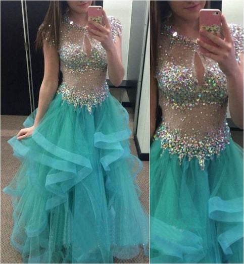 See through Beading Prom Dresses, Long Party Dress SP3015