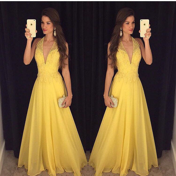 Deep V-neck Yellow Beading Prom Dresses, Long Party Dress SP3016