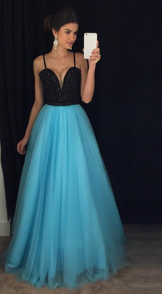 Black Top Beading Prom Dresses, Long Party Dress SP3017