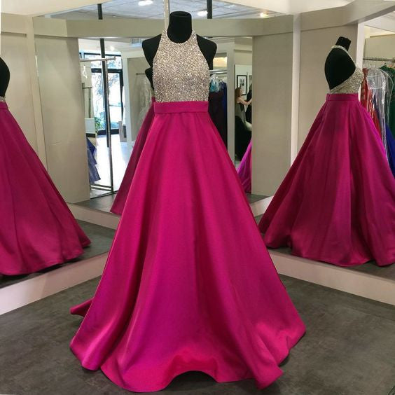 Backless Beading Prom Dresses, Long Party Dress SP3023