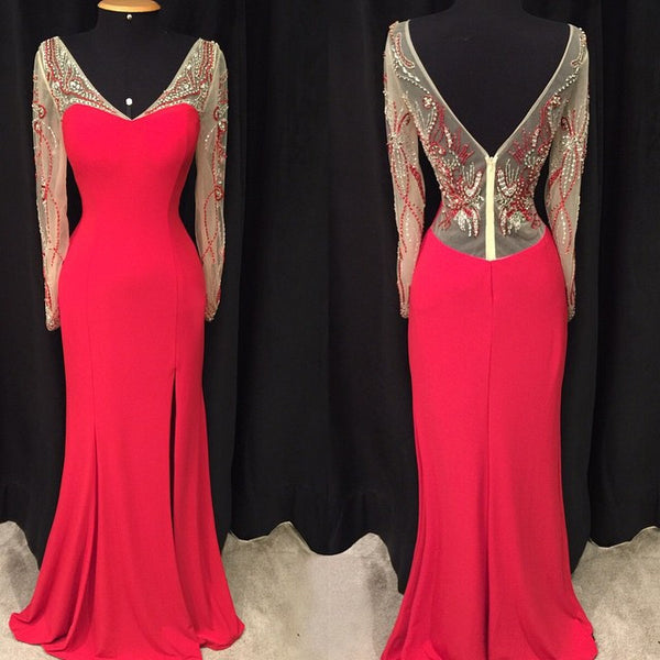 V-neck Fashion Prom Dresses, Mermaid Beading Long Party Dress SP3028