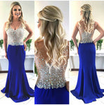 V-neck Mermaid Long Prom Dress ,Beaded Royal Blue Formal Dresses ,Modest Wedding Party Dress LP211