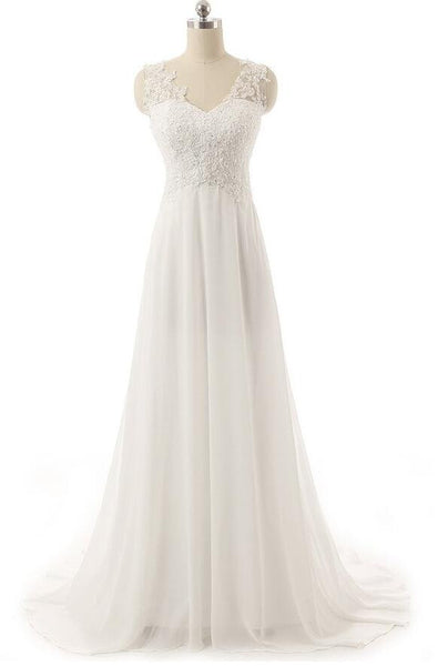 V-neck Chiffon bridal dress with lace top