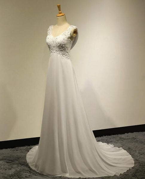 V-neck Chiffon bridal dress with lace top with beadings