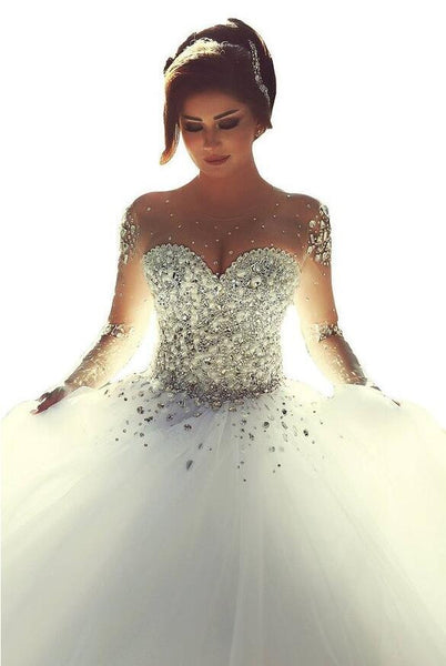 Beaded Princess Ball Gown Bridal Dress With Long Sleeves