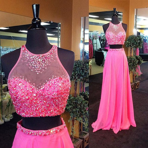 Fashion Two Pieces Beading Long Prom Dress , Long Winter Formal Dress P021