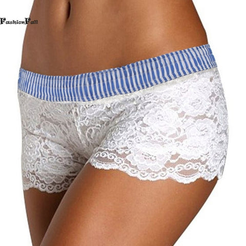 Waist Stripe White Hollow Lace Boy Shorts