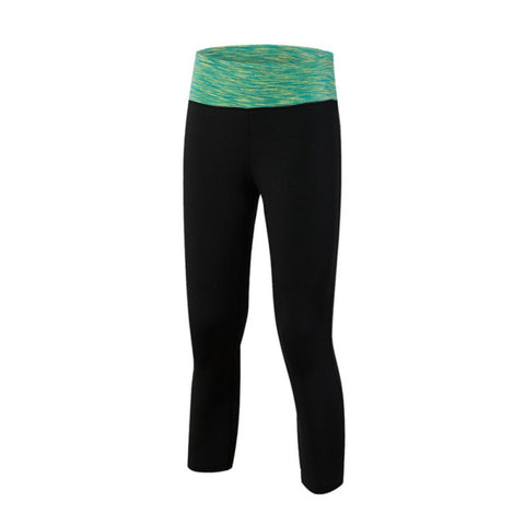 Yoga capris with colored waistband