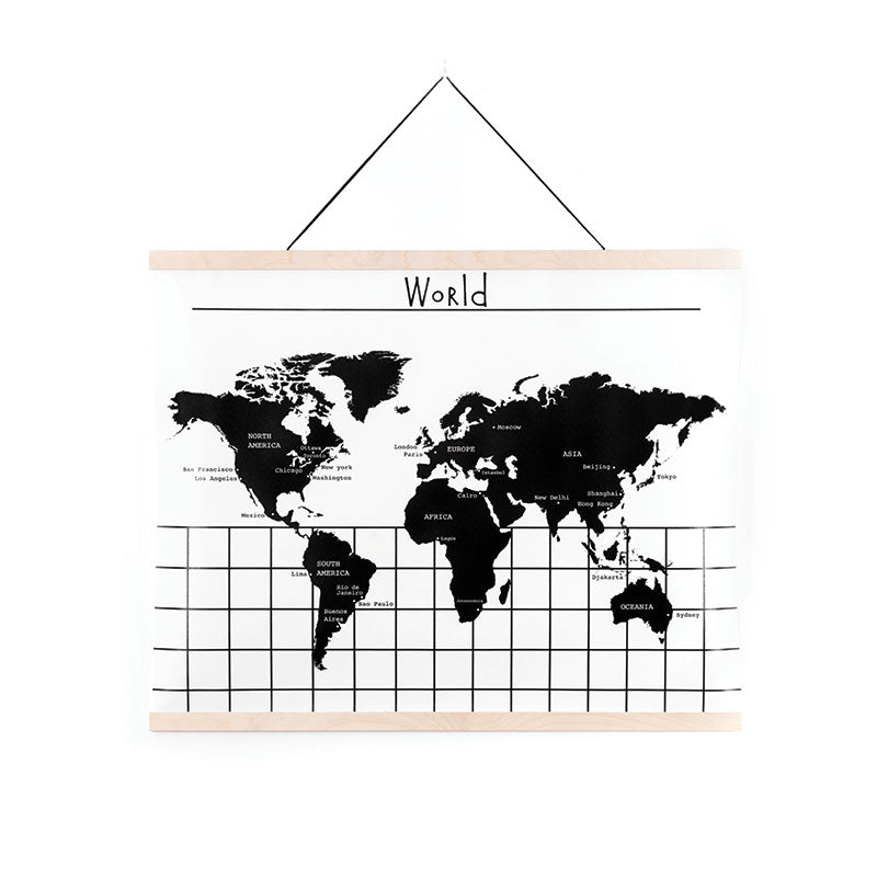 World Map EN, Canvas Wall Hanging, by Gautier Studio