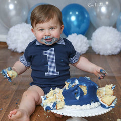 cake smash navy blue baby boy outfit
