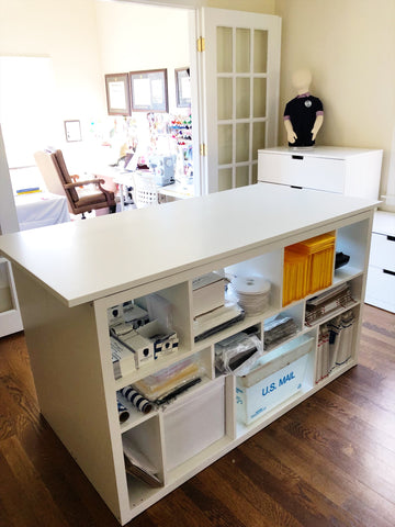 ikea craft table with kallax shelves