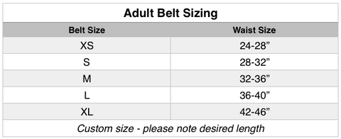 Adult belt sizing