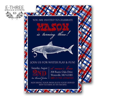 preppy shark invitation
