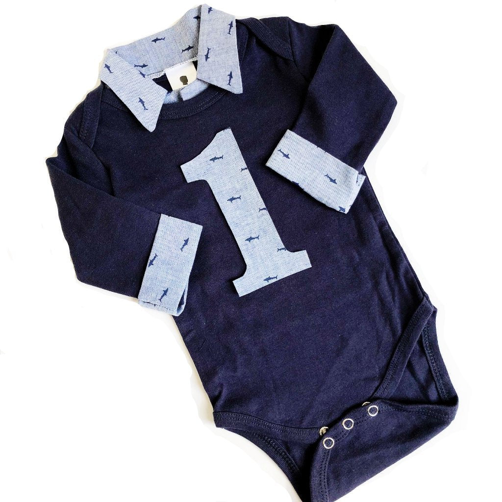 Nautical Baby Boy First Birthday Outfit - Navy with Chambray Sharks