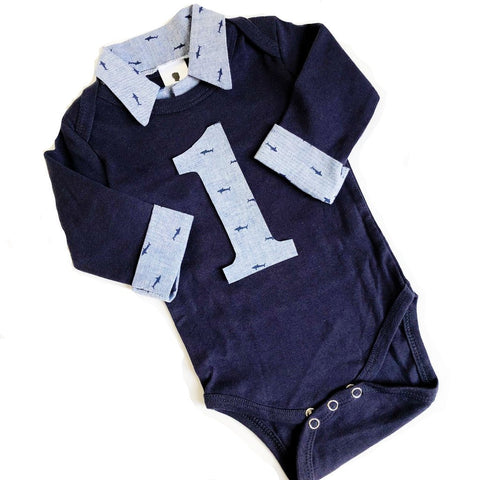 Custom Nautical Baby Boy First Birthday Outfit - Navy with Chambray Sharks