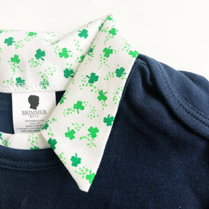 Baby Boy St Patricks Day Outfit - Navy with Green Shamrocks