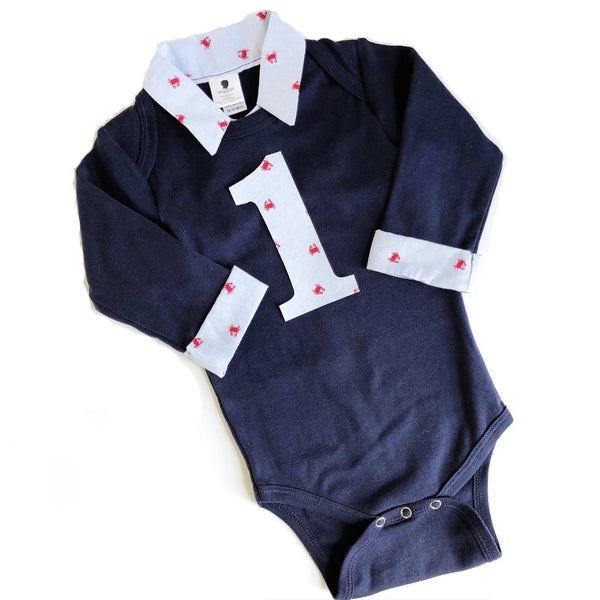 Custom Nautical Baby Boy First Birthday Outfit - Navy with Chambray Crabs