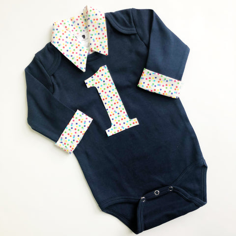 Baby Boy Rainbow Outfit - Navy with Rainbow Dots on White