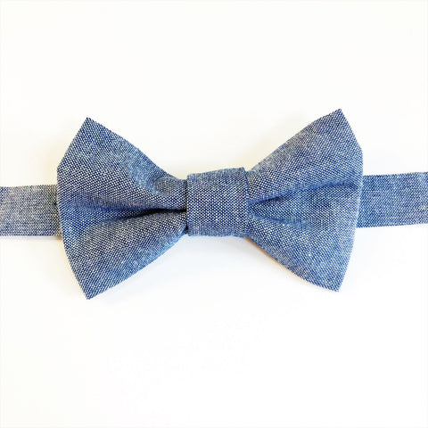 blue chambray bow tie