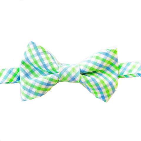 Blue and Green Plaid Bow Tie