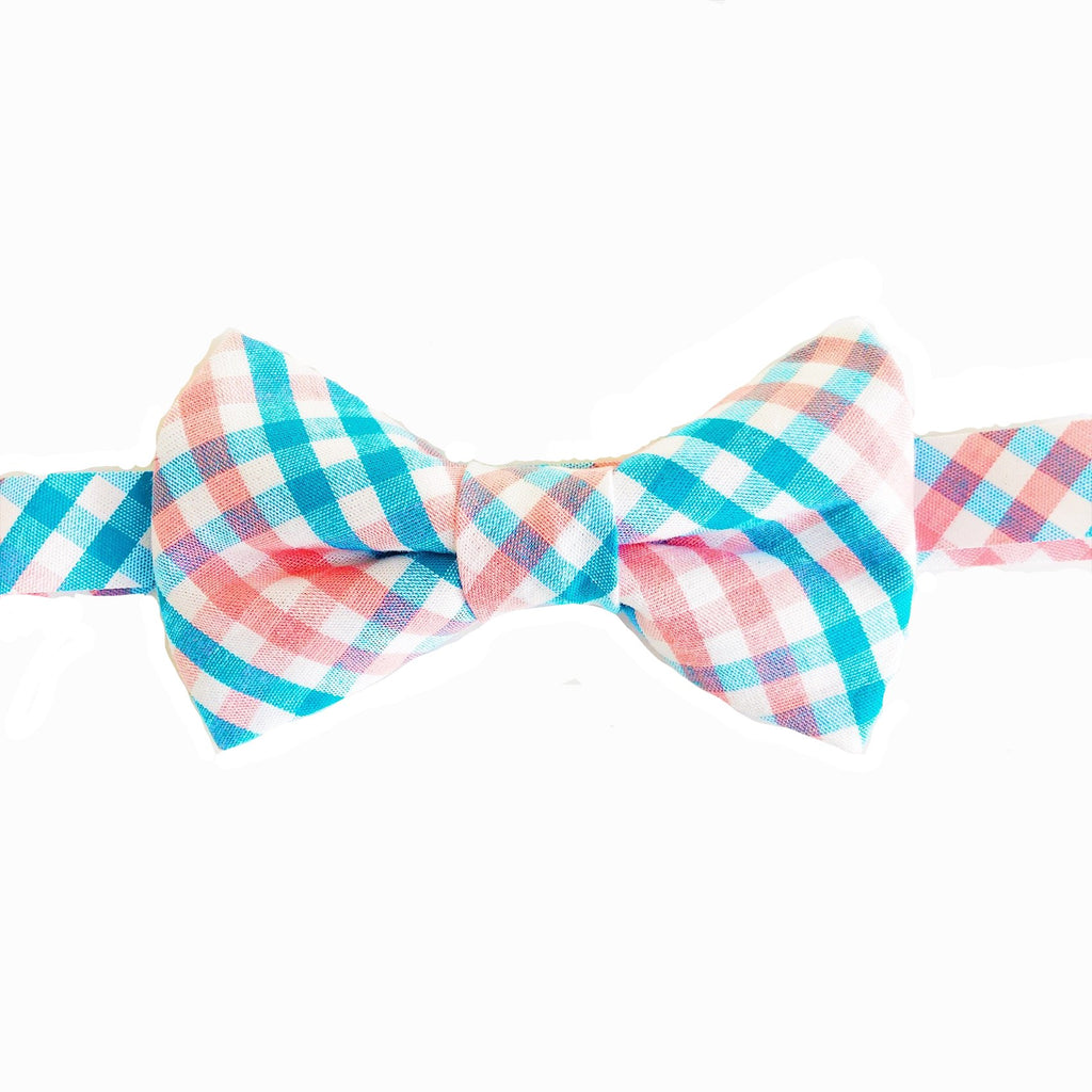 Blue and Coral Plaid Bow Tie