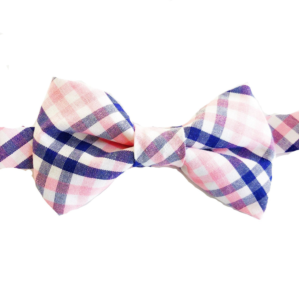 Navy and Pink Plaid Bow Tie