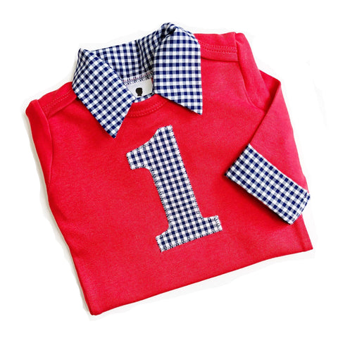 Baby Boy First Birthday Outfit - Red with Navy Gingham