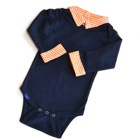 Custom Baby Boy First Birthday Outfit - Navy with Orange Gingham