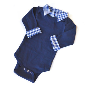 baby boy navy and navy gingham coming home outfit
