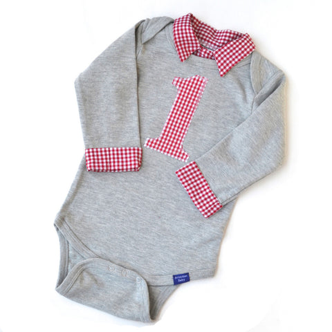 Baby Boy First Birthday Outfit - Gray with Red Gingham