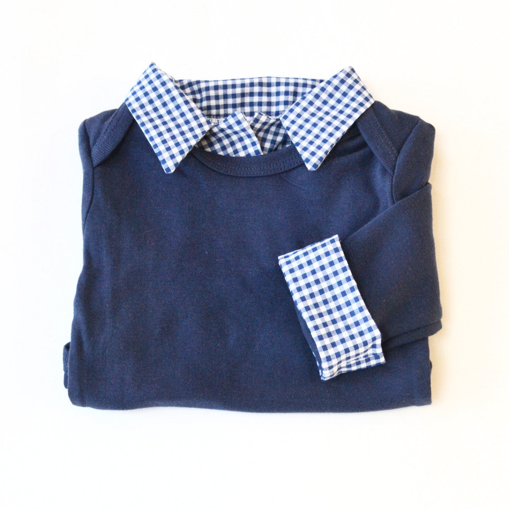 "15edc05ec1c93 Navy Baby Boy s ""1"" First Birthday Outfit with Navy Gingham Accents ..."