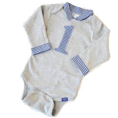 Custom Baby Boy First Birthday Outfit - Gray with Navy Gingham