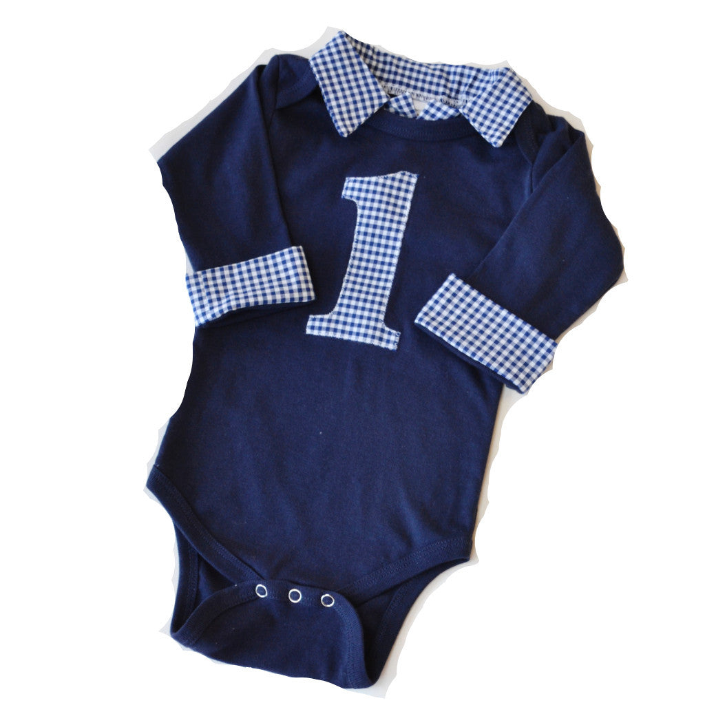 1 Gingham on navy onesie romper bodysuit for little boy's first birthday