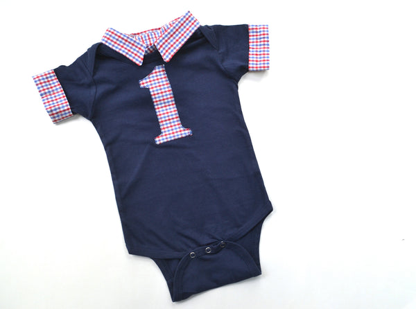 Baby Boy Cake Smash Birthday Outfit - Red and Blue Check