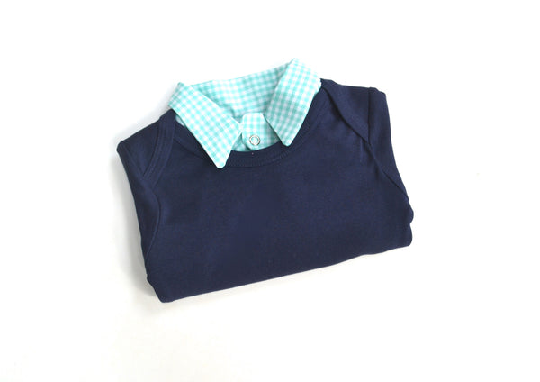 Baby Boy Birthday Outfit - Navy with Mint Green