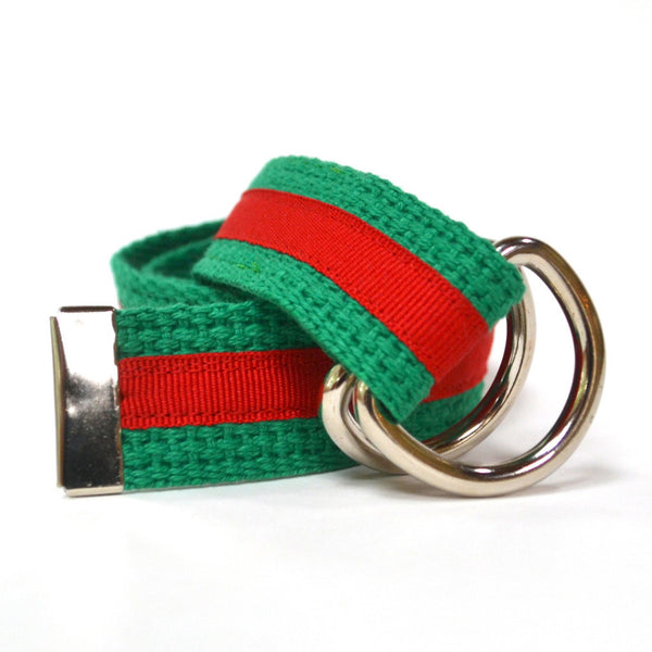 Child Stripe Belt - Green and Red Stripe