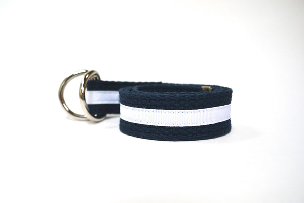 Women's Stripe Belt - Navy with White Stripe