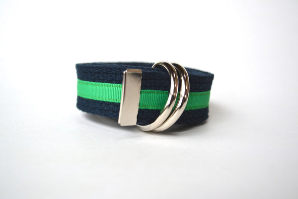 Women's Stripe Belt - Navy with Green Stripe
