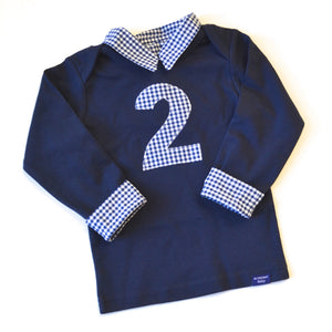 2 in gingham on a navy long sleeved shirt for a boy's second birthday