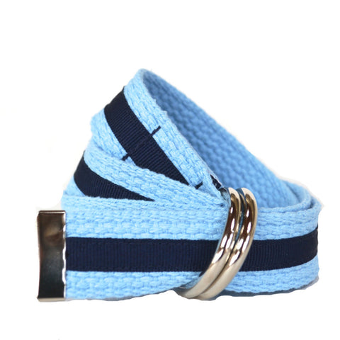 Child Stripe Belt - Light Blue with Navy Stripe
