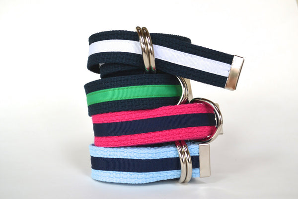 Women's Stripe Belt - Light Blue with Navy Stripe